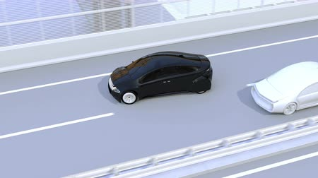 ügyes : Side view assist system avoid car accident when changing lane. Concept for driver assistance systems. 3D rendering animation.