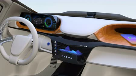 recharging : Autonomous car interior concept. Wooden tray near dashboard could charging smartphone by wireless recharging technology.  3D rendering animation.