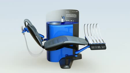 ergonomic : Demonstration of metallic blue dental unit equipment. 3D rendering animation.
