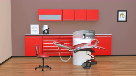 ergonomic : Dental office interior with red unit equipment and cabinet. 3D rendering animation.