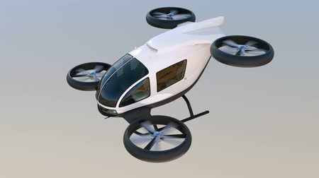 ротор : White self-driving passenger drone flying in the sky. 3D rendering animation. Стоковые видеозаписи
