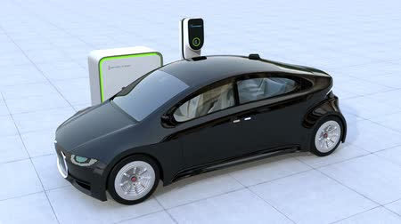 melez : Electric car charging in charging station. Front grille with digital monitor display charging progress. 3D rendering animation.