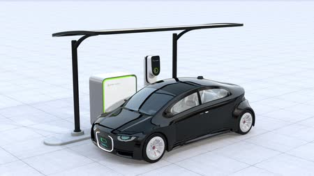 recharging : Electric car charging in charging station. Front grille with digital monitor display charging progress. 3D rendering animation.