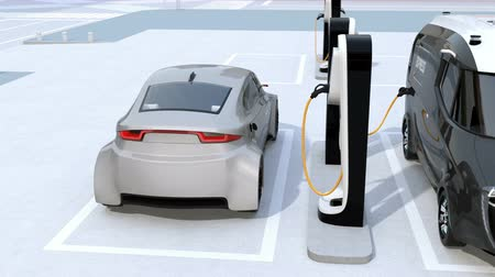 electric : Electric delivery minivan and silver sedan charging at charging station. 3D rendering animation.