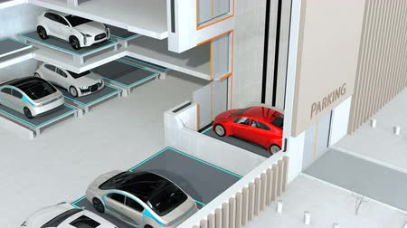 vezetett : Red car parking by AGV (Automated  Guided Vehicle) in cutaway view. Automatic car parking system concept. 3D rendering animation.