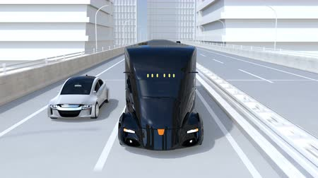 fleet : A fleet of black self-driving electric semi trucks driving on highway. 3D rendering animation.