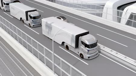 Autonomous electric trucks and VTOL drones platooning on highway. Concept for fast delivery service. 3D rendering animation. Stock Footage