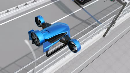 Blue VTOL drone fly across highway to delivery packages. Concept for fast delivery service. 3D rendering animation. Stock Footage