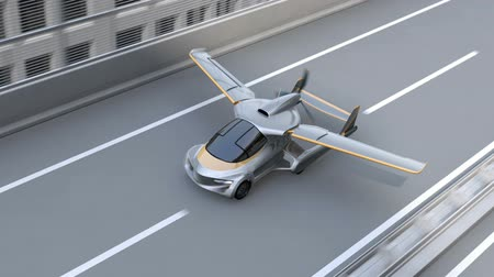 összecsukható : Futuristic flying car takes off from highway. Fast transportation without traffic jam concept. 3D rendering animation. Stock mozgókép