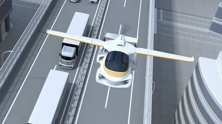 ev : Futuristic flying car flying over highway. Fast transportation without traffic jam concept. 3D rendering animation.