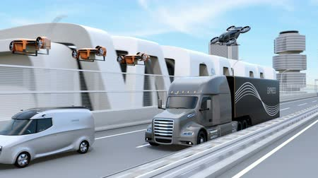 運輸 : Fleet of American Trucks, cargo drones and flying car. Logistics and transportation concept. 3D rendering animation.