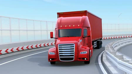 ev : Metallic red Fuel Cell Powered American Truck driving on highway. 3D rendering animation.