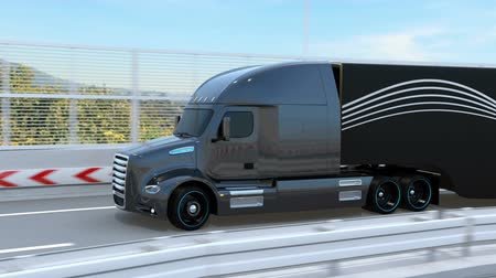 trucks : Black Fuel Cell Powered American Truck driving on highway. 3D rendering animation.