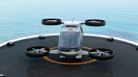 self driving : Passenger Drone Taxi parking on helipad.  3D rendering animation.