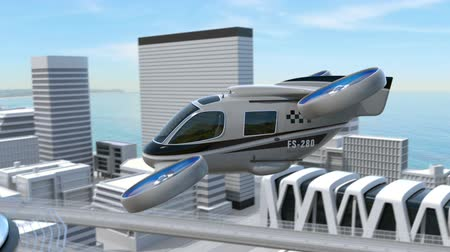 unmanned aircraft : Metallic gray Passenger Drone Taxi landing on a rooftop helipad. 3D rendering animation.