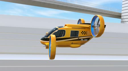 Yellow Passenger Drone Taxi flying through highway. Fleet of delivery drones flying along with truck driving on the highway. 3D rendering animation. Stock Footage