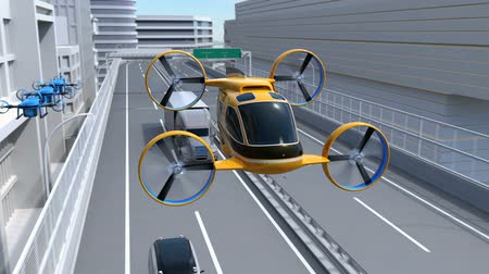 ev : Yellow Passenger Drone Taxi flying through highway. Fleet of delivery drones flying along with truck driving on the highway. 3D rendering animation. Stock Footage