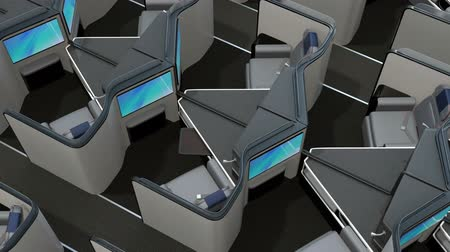 reclináveis : Luxury business class suites interior. Reclining seats turning into fully flat beds. 3D rendering animation. Vídeos
