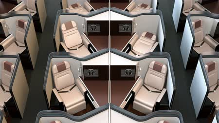 feloszt : Front view of luxury business class suites interior. Reclining seats turning into fully flat beds. 3D rendering animation.