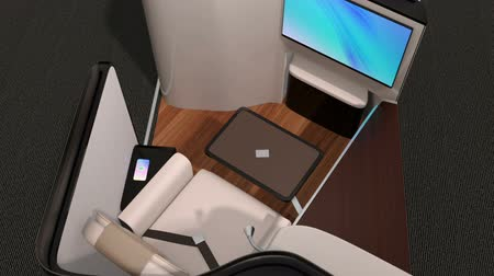 Luxury business class suite interior. Laptop and tray table were folded and reclining seat transfer into fully flat bed. 3D rendering animation.