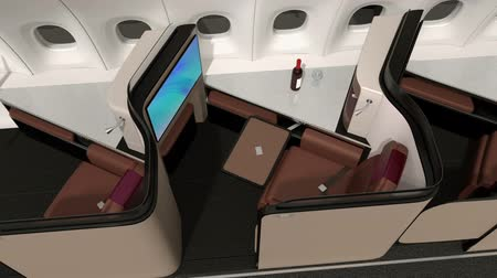 feloszt : Luxury business class suite interior. Reclining seat transfer into fully flat bed. 3D rendering animation.