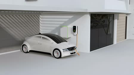 efektivní : Smart home powered by solar panels and wind turbine. Electric vehicle recharging in garage. Renewable energy concept. 3D rendering animation. Dostupné videozáznamy