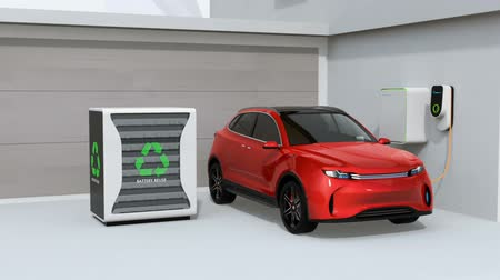 Electric vehicle recharging in garage. Charging station powered by reused EV batteries. 3D rendering animation.