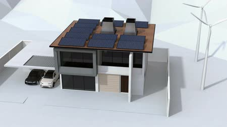 Smart home powered by solar panels and wind turbine. Electric vehicle recharging in garage. Renewable energy concept. 3D rendering animation. Stock Footage