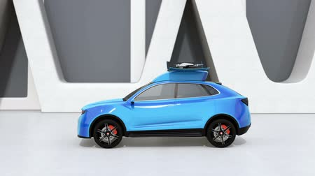 ev : Blue electric SUV released drone for leisure entertainment. 3D rendering animation.