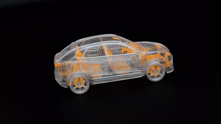 Metallic wire frame of electric SUV on black background.  3D rendering animation.
