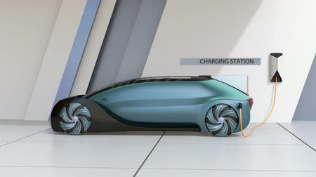 Electric car charging in charging station. 3D rendering animation.