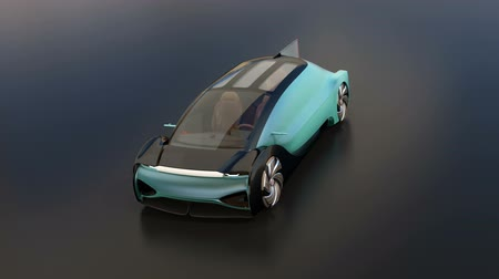 ev : Autonomous electric saloon on black background. 3D rendering animation. Stock Footage