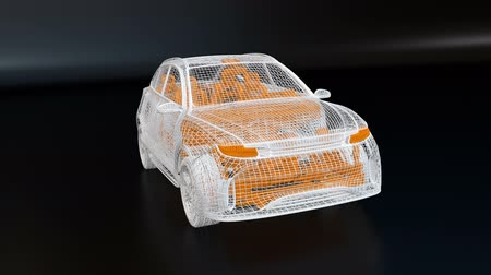 melez : White wire frame of electric SUV on black background.  3D rendering animation. Stok Video