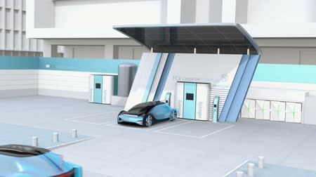 tankowanie : Fuel Cell powered autonomous car filling gas in Fuel Cell Hydrogen Station equipped with solar panels. 3D rendering animation. Wideo
