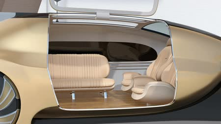 limuzína : Self driving electric car concept. Front seat turned to backward and right door closed. 3D rendering animation.