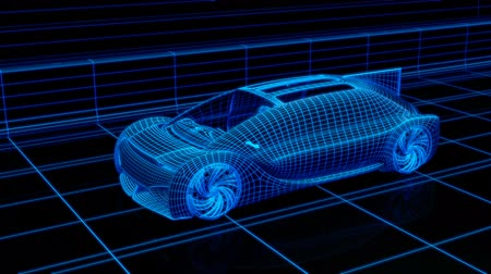 self driving : Wireframe rendering of Autonomous electric car driving on highway. Digital Twin concept.  3D rendering animation.