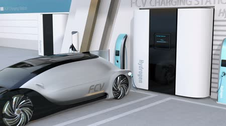 recharging : Fuel Cell powered autonomous car filling gas in Fuel Cell Hydrogen Station. 3D rendering animation.