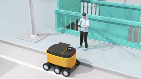 Low polygon style man using smartphone to unlock self-driving delivery robots door. Last one mile concept. 3D rendering animation.