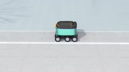 ev : Self-driving delivery robots and delivery van on the street. 3D rendering animation. Stock Footage