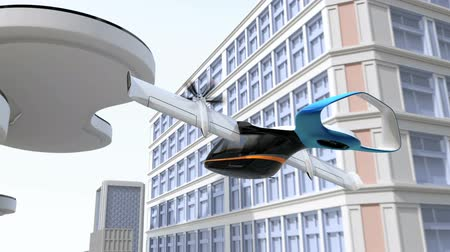E-VTOL passenger aircraft landing to airport in the city.  Urban Passenger Mobility concept. 3D rendering animation.