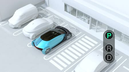 emergency stop : Head-in parking car emergency stopped while the driver used wrong gear.  Advanced driver assistance system concept. 3D rendering animation.