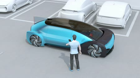 Man using smartphone to remote control car parking. Self parking system concept. 3D rendering animation. Stock Footage