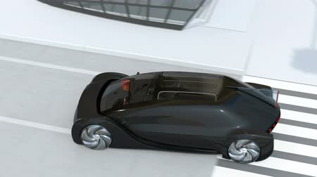 önlemek : Black car emergency braking to avoid an accident when pedestrian walk out from blind spot of minivan. Automatic Emergency Braking (Emergency brake system) concept. 3D rendering animation.