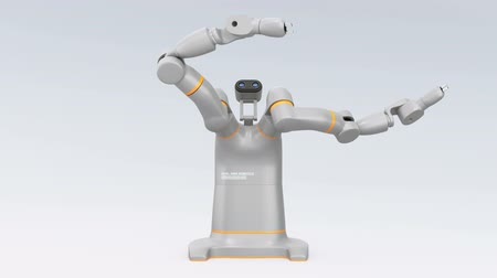 Gesture demonstration of dual-arm robot. Collaborative robot concept. 3D rendering animation. Stock Footage