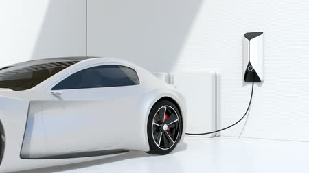 recharging : White electric sports car charging at home. Sustainable lifestyle concept. 3D rendering animation. Stock Footage