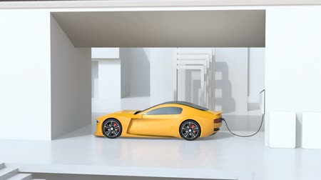 melez : Yellow electric sports car charging at home. Sustainable lifestyle concept. 3D rendering animation. Stok Video