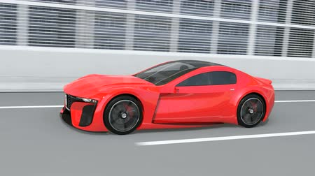 hybride : Red electric powered sports coupe driving on the highway. 3D rendering animation.