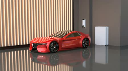 obnovitelný : Red electric sports car charging at home charging station. Sustainable lifestyle concept. 3D rendering animation. Dostupné videozáznamy