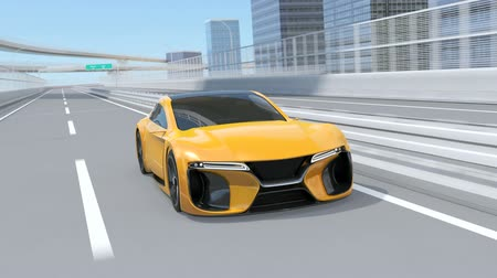 pista de corrida : Yellow electric powered sports coupe driving on the highway. 3D rendering animation.