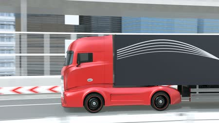 melez : Generic design red Heavy Electric Truck Driving on the Highway. Sustainable logistics concept. 3D rendering animation. Stok Video